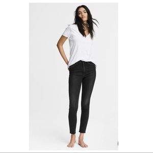 Rag and Bone Black Rae Skinny Jean Raw Hem, 26